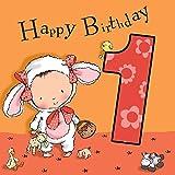Twizler Geburtstagskarte für Mädchen, Tiermotiv: Lamm, für den 1. Geburtstag