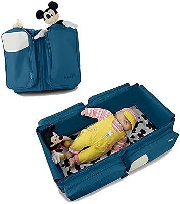 3en 1bolsa de pañales de Viaje–Bolsa multiuso - cambiador de bebé - bolso de pañales, diseño de cama bebé para carrito o cuna