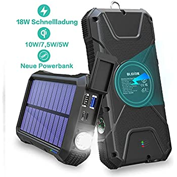 Fast Power Bank 20000 mAh, 18 W Quick Charge 3 0 & 10 W / 7 5 W Inductive  Charging, Solar Charger with 4 Outputs & Dual Inputs, External Battery Pack