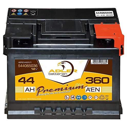 Autobatterie 12V 44Ah 360A Adler Premium PKW Starter 54465 statt 35Ah 40Ah 42Ah 45Ah