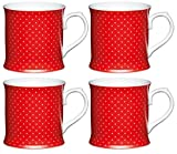 Kitchen Craft Feines Porzellan Becher Gepunktet, Rot (4Stück),
