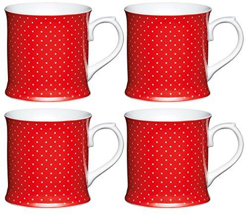 Kitchencraft Fine Porcelana Taza de Lunares, Rojo (Juego de 4),