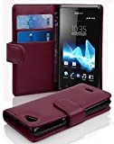 Sony Xperia J Hülle in LILA von Cadorabo - Handyhülle mit Kartenfach für Sony Xperia J Case Cover Schutzhülle Etui Tasche Book Klapp Style in BORDEAUX LILA