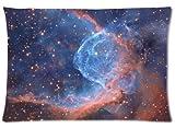 Cangnan Fox Fur Nebula Galaxy Space Zippered Pillowcase Covers Standard Size 18x18 (One Side)