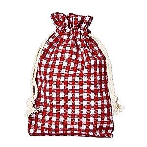 12 Adventskalender-Beutel Rot-Weiss Kariert mit Kordel. Größe 20×12 cm (Höhe x Breite) Baumwoll-Säckchen, Baumwollbeutel für Adventskalender & Weihnachtsverpackung