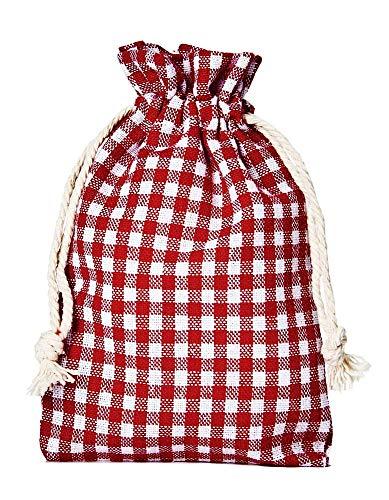 organzabeutel24   5 Baumwollsäckchen, Baumwollbeutel im Landhaus-Look, Größe 40x30cm, Geschenkverpackung, Tischdekoration, Landhaus-Dekoration, Oktoberfest, kariert, Lifestyle, Home (rot-weiss)