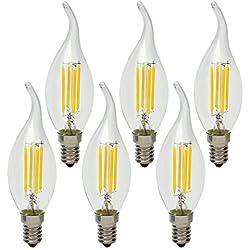 4W E14 Vela de Filamentos LED Bombillas Retro Vintage de Araña Candelabro Lámpara iluminación, no Regulable, Blanca Cálida 2700K, Equivalente a 40W Incandescente, 6 unidades
