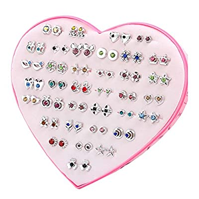36 Pairs of Hypoallergenic Stud Earrings Set Party Favor for Women Girls Kids Christmas Gift, 05