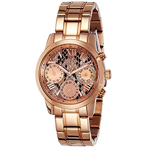Guess Women's 36.5mm Chronograph Gold Plated Stainless Steel Case Watch W0448L9