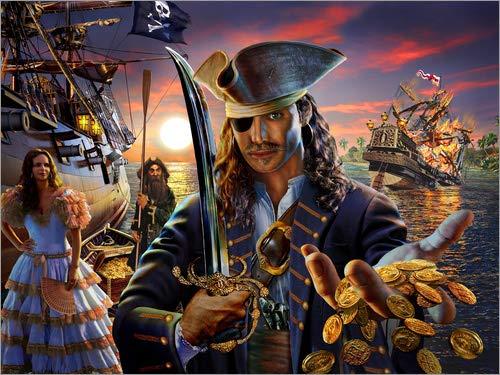 Leinwandbild 40 x 30 cm: Der Pirat von Adrian Chesterman/MGL Licensing - fertiges Wandbild, Bild auf Keilrahmen, Fertigbild auf echter Leinwand, Leinwanddruck