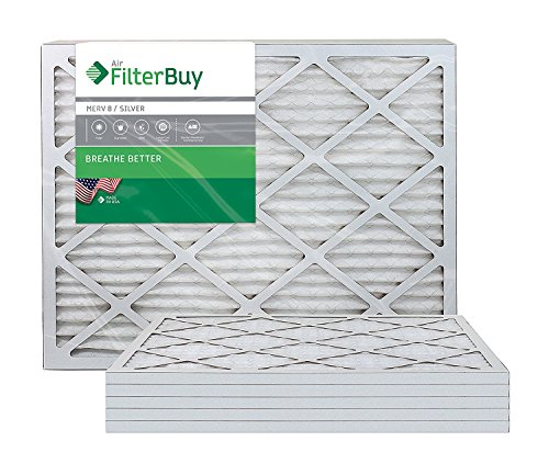 FilterBuy 24x25x1: AFB Silver MERV 8 24x25x1 Pleated AC Furnace Air Filter. Pack of 6 Filters. 100% produced in the USA