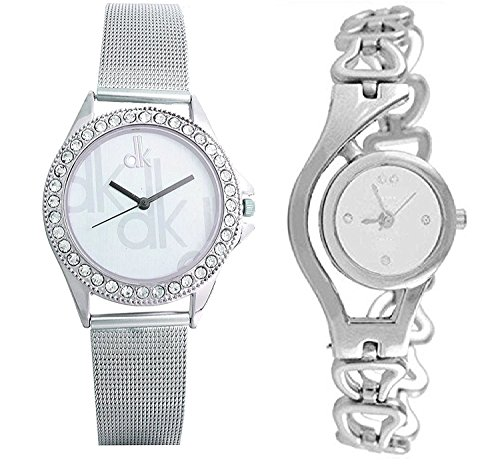 Maan International White Dial Silver Analog Watch Combo For Woman's & Girls Pack Of 2