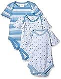 Twins Baby - Jungen Kurzarm-Body im 3er Pack, Gr. 56, Blau (baby blue 123000)