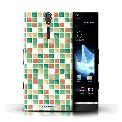 Kobalt® Imprimé Etui / Coque pour Sony Xperia S/LT26i / Violet/Vert conception / Série Carreau Bain Vert/Rouge