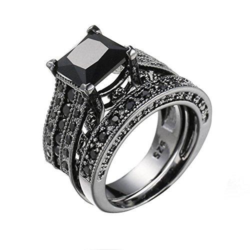 ❤️❤️ JYJM-2-in-1 Womens Vintage Black Diamond Silber Engagement Ehering Ring Set Wächter der Liebe 925 Sterling Silber Damen Kette, Ohrstecker 5A Zirkonia mit weißer Perle von Swarovski,