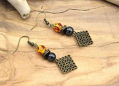 ETHNICFEATHER - Boucles d'oreilles bronze ambre, pendant géométrique perle Hématite magnétique, bijoux zen, boucles oreilles en pierre et bronze, bijoux femmes, cadeaux