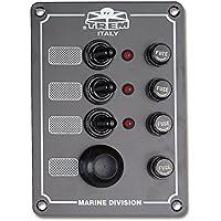 Panel eléctrico Serie Marine con interruptores estanques + botón Trompeta y pilotos luminose