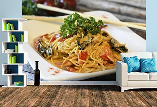 Premium Foto-Tapete Asiatisches Nudelgericht mit Pilzen (versch. Größen) (Size L | 372 x 248 cm) Design-Tapete, Wand-Tapete, Wand-Dekoration, Photo-Tapete, Markenqualität von ERFURT
