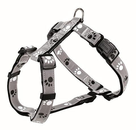 Trixie Réfléchir Silber-Geschirr, L–XL: 75–100 cm/25 mm, schwarz/grau