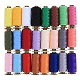 Demiawaking Lot de 24à coudre Couleurs mélangées enrouleurs de pur coton à la main à broder Fil à coudre Bobine de fil pour machine à coudre