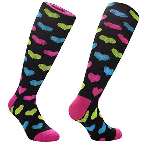 Samson Hosiery ® 80s Retro Hearts Novelty Socks Funky Vintage Retro Funny Gift Fashion Sports And Casual Knee High For Men Women Kids Unisex