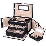 SONGMICS Boîte à bijoux 3 Niveaux, Coffret à bijoux verrouillable avec une petite boîte voyage portable, Doublure en velours, Bonne idée Cadeau, Noir JBC121B