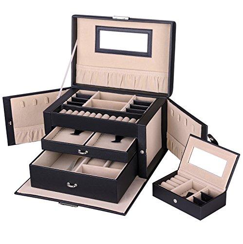 Songmics Schmuckkästchen Schmuckkoffer mit 2 Schubladen Spiegel JBC121B (2 Schwarze Leder-handtasche)