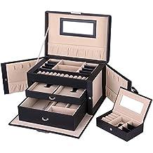 Songmics Caja Joyero Joyas Aretes Dijes anillo de la pulsera joyería caja de almacenamiento de regalo JBC121B