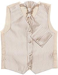 Paisley of London, Dorado niños chaleco, corbata & pañuelo set, De rayas chalecos, 3m - 14 años