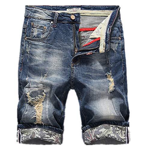YURACEER Kurze Hosen Sommer Herren Cowboy Shorts Mode Loch Jeans-Shorts Für Männer Sommer Neue Beiläufige Kurzschlüsse 2019 mid Taille Kurze Jeans für männer Plus größe männer Shorts(Kein Gürtel) x1