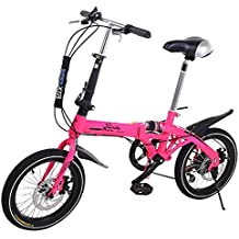 Super Bike Bicicleta Plegable Unisex de 16 (Rosa Flúor)