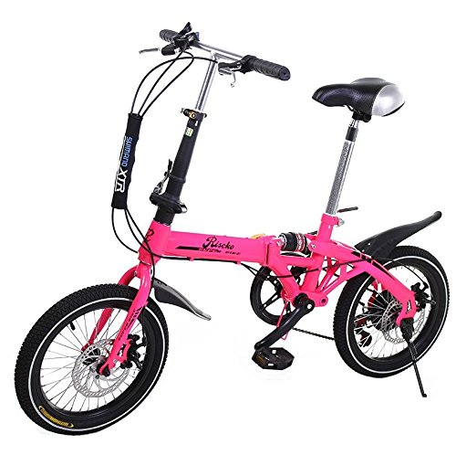Super Bike Bicicleta Plegable Unisex de 16'' (Rosa Flúor)