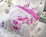 Parure Copripiumino sogno di orchidea 200x 220colore rosa e bianco