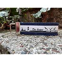 Schlüsselanhänger Schlüsselband Wollfilz dunkelblau Die Ostsee Skyline schwarz weiß!