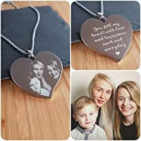 Womens Necklace Personalised Photo Engraved Flared Heart Pendant - Perfect Gift for Valentines Day, Mothers Day, Birthdays or to remember lost loved ones - Double sided engraving and free gift bag