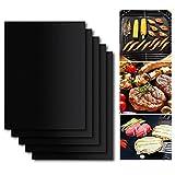 BBQ Grillmatte Set von 5, Antihaft für Grills und Matten, Surenhap PFOA frei, wiederverwendbar und leicht zu reinigen, Grillzubehör für Gas, Kohle, Elektrogrill und mehr - 40 X 33 CM