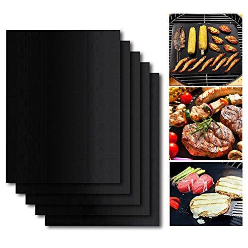 BBQ Grillmatte Set von 5, Antihaft für Grills und Matten, Surenhap PFOA frei, wiederverwendbar und leicht zu reinigen, Grillzubehör für Gas, Kohle, Elektrogrill und mehr - 40 X 33 CM -