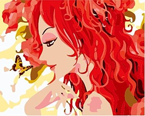 Obella Peinture par numéros Kits issu de la gamme Papillon Rouge Cheveux Beauté 50x 40cm issu de la gamme Peinture par numéros numériques, peinture à l'huile, sans cadre