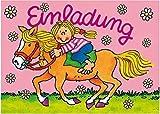 16-teiliges Set: 8 Einladungskarten mit 8 Umschläge * Pferde / Pony * für Kindergeburtstag vom Lutz Mauder Verlag // Kinder Geburtstag Party Kinderparty Kinderfest Pferdchen Mädchen Reiter Reiten