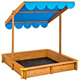 TecTake Sand pit with adjustable roof sun protection outdoor games wooden sandbox - different colours - (Blue | No. 402220)