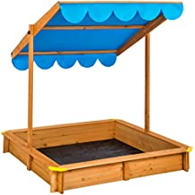 TecTake Arenero con techo regulable cajón de arena jardín juego para niños madera - disponible en diferentes colores - (Azul | No. 402220)