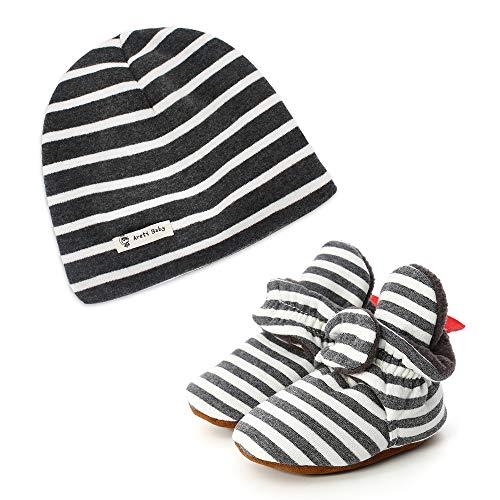 LACOFIA Baby Jungen Weiche Sohle Winter Hausschuhe Stiefel und 100% Baumwolle Beanie Mütze 2 Stücke Dunkelgrau 6-12 Monate -