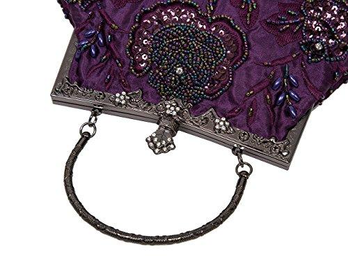 Ecosusi Vintage Seed rilievo Rose Wedding Bag frizione del partito di promenade di sera Porpora