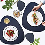 AMRTA Tovagliette Set of 2 45×38.5cm Pelle Artificiale Non scivolose Resistenti al Calore Tovagliette per Tavolo da Cucina 2 Senza sottobicchieri (Blu Scuro (2 Tovagliette+2 Sottobicchieri))