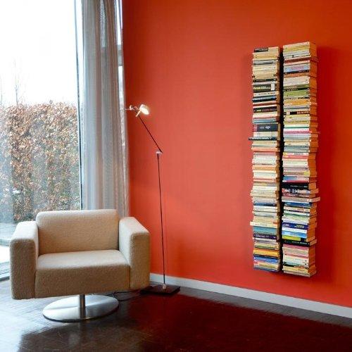 Radius - booksbaum double / Bücherregal - wand gross schwarz, 2tlg. best.aus: Halterung + Einlegeböden -