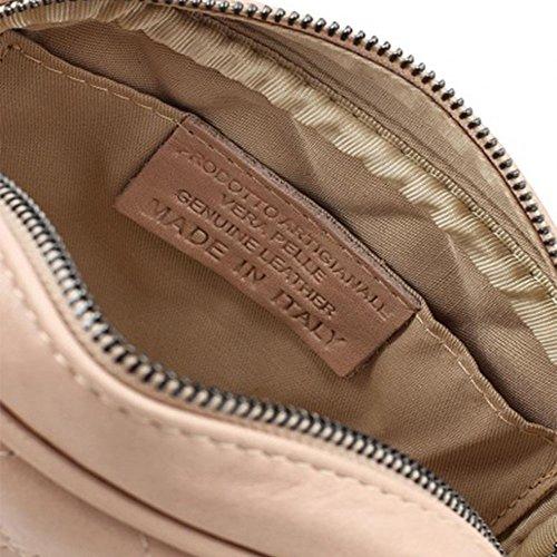 LINDA Borsetta pochette a spalla in pelle trapuntata tracolla catena e pelle oro chiaro pelle liscia morbida Cipria