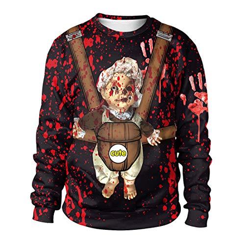 SERAPH Frauen Männer Halloween Cute Baby Crop Hoodies Sweatshirts Blut Befleckt Rote Hand Digital Gedruckte Party Tops,Aspicture,XL