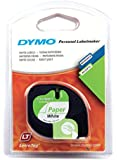 Dymo S0721510 LetraTag Paper Tape Self-Adhesive, 12 mm x 4 m Roll - Black Print on White