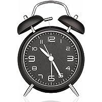 Reloj Despertador, Drillpro Alarm Clock, Clásico Doble Campana Despertador con Luz de Noche, 4 Pulgadas Dial Grande, Reloj de Cuarzo Analógico con Fuerte Alarma, Sin Hacer Tictac - Hermoso y Fácil de Leer. Negro