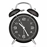 Drillpro Alarm Clock, Classic Double Bell Alarm Clock with Night Light, 4 inch Big Dial, Analog Quartz Alarm Clock with Loud Alarm, No Ticking - Nice and Easy to Read